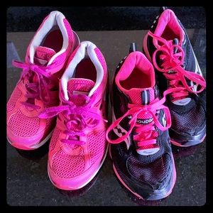 Nike and Saucony running shoes